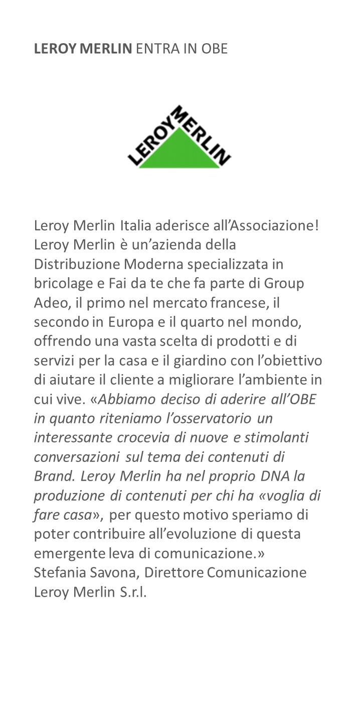 Leroy Merlin entra in OBE
