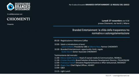 Branded entertainment: la sfida della trasparenza tra normativa e autoregolamentazione